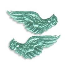 Extra Large Aqua Dresden Foil Wings ~ 2 pair