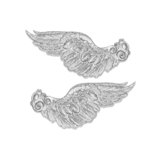 Extra Large Silver Dresden Foil Wings ~ 2 pair