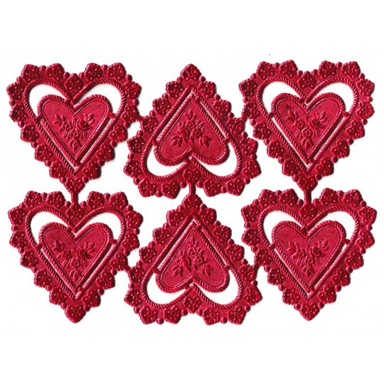 Red Dresden Foil Heart Frames ~ 12 pieces
