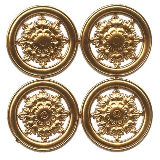 Antique Gold Dresden Foil Filligree Snowflake Medallions ~ 4