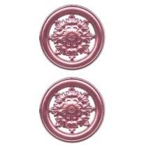 Pink Dresden Foil Filligree Snowflake Medallions ~ 4