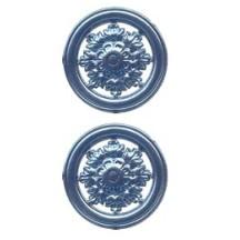 Steel Blue Dresden Foil Filligree Snowflake Medallions ~ 4