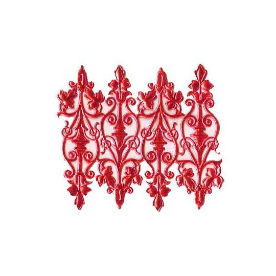 Red Dresden Foil Embellishments ~ 8