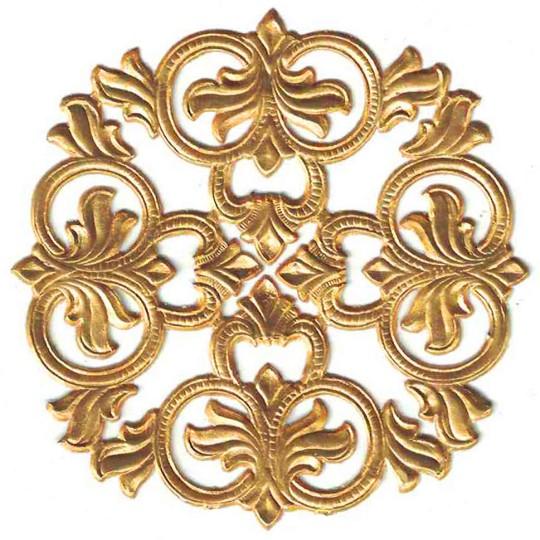 Antique Gold Dresden Foil Medallions ~ 3