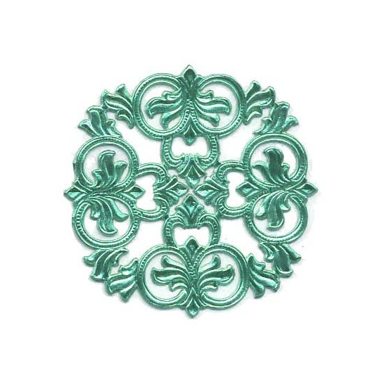 Aqua Dresden Foil Medallions ~ 3