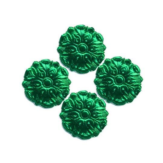 Green Dresden Foil Medallions ~ 24