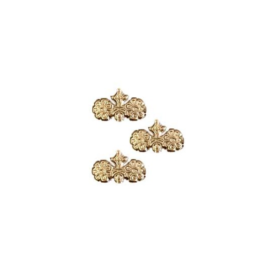 Antique Gold Dresden Foil Fancy Flower Embellishments ~ 24