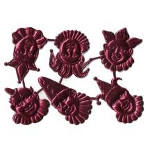 Burgundy Dresden Foil Jesters ~ 6