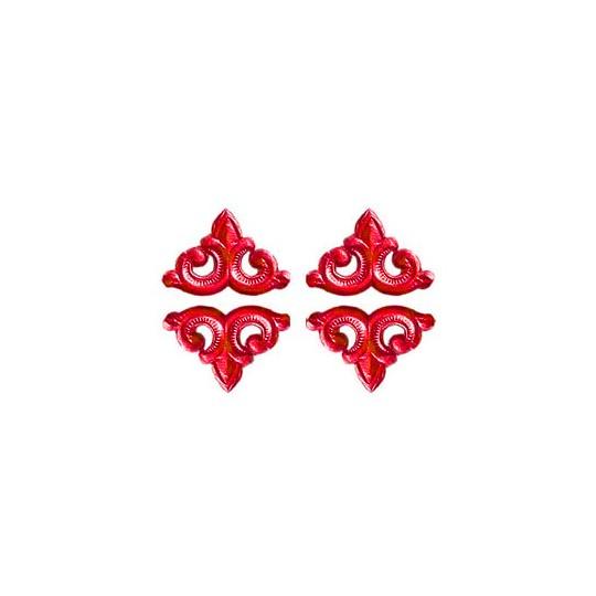 Red Dresden Foil Fleur-de-lis Swirl ~ 24
