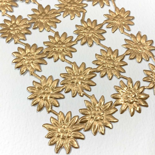 Antique Gold Dresden Foil Edelweiss Flowers ~ 20