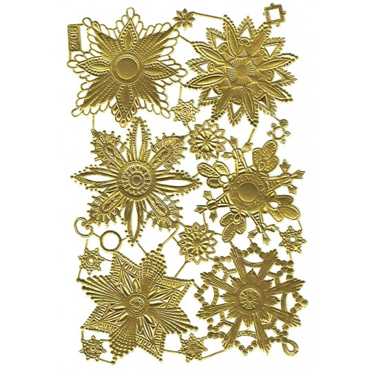 Large Gold Dresden Foil Medallions ~ 6 Assorted