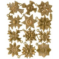 Medium Gold Dresden Foil Medallions ~ 12 Assorted