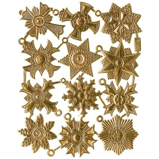 Medium Gold Dresden Foil Medallions ~ 12 Assorted