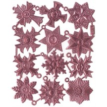 Medium Pink Dresden Foil Medallions ~ 12 Assorted