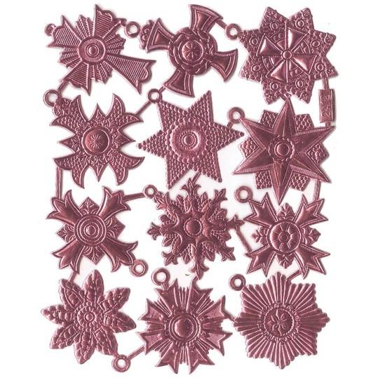 Medium Pink Dresden Foil Medallions ~ 12 Assorted