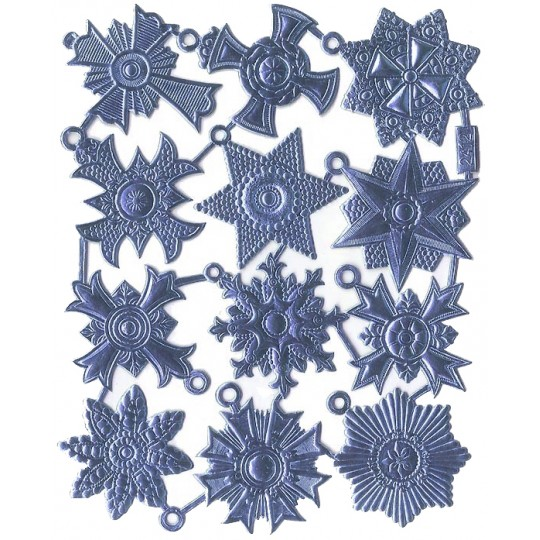 Medium Steel Blue Dresden Foil Medallions ~ 12 Assorted