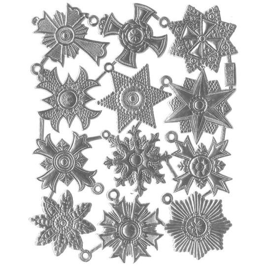 Medium Silver Dresden Foil Medallions ~ 12 Assorted