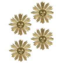 Small Gold Dresden Foil Sun Medallions ~ 10