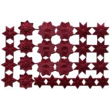 Burgundy Dresden Foil Stars & Halos ~ 26 Assorted
