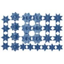 Steel Blue Dresden Foil Stars & Halos ~ 26 Assorted