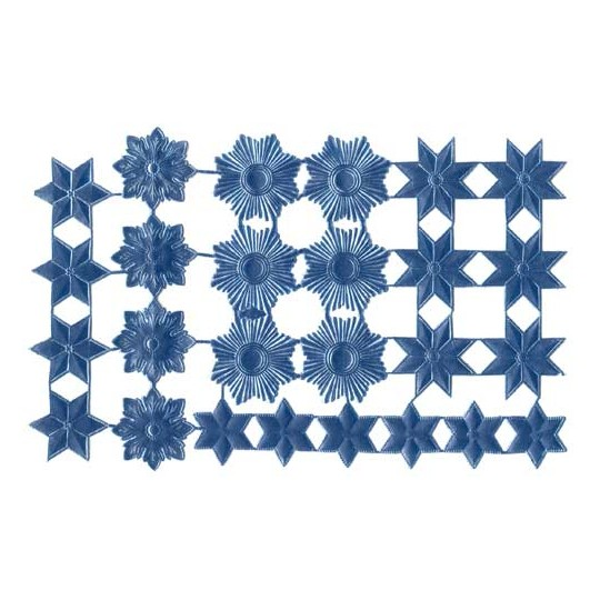 Steel Blue Dresden Foil Stars & Halos ~ 26 Assorted