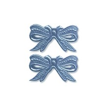Steel Blue Dresden Foil Medium Bows ~ 10