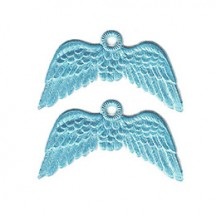 Light Blue Dresden Foil Wings with Hanger ~ 12