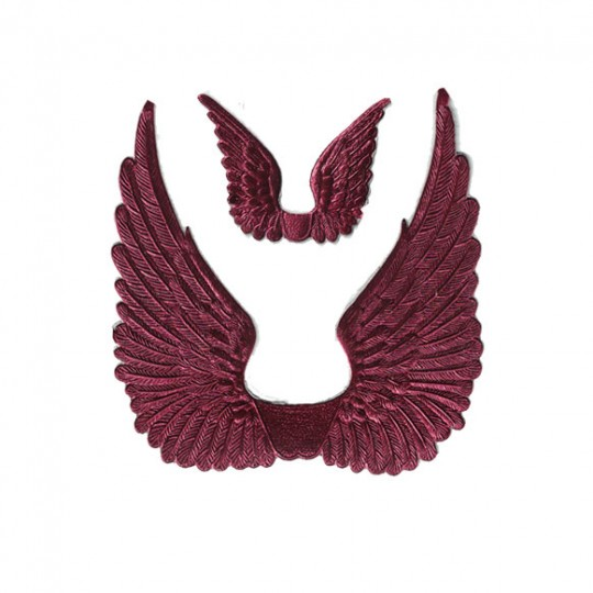 Burgundy Dresden Foil Swan Wings ~ 8