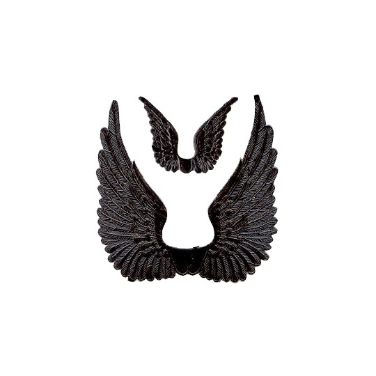 Black Dresden Foil Swan Wings ~ 8