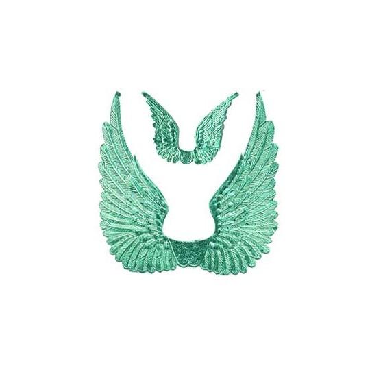 Aqua Dresden Foil Swan Wings ~ 8