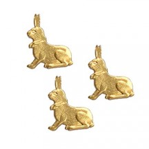 Petite Antique Gold Dresden Foil Easter Bunnies ~ 18