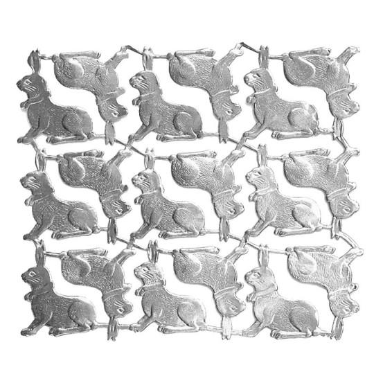 Petite Silver Dresden Foil Easter Bunnies ~ 18
