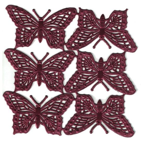 Burgundy Dresden Foil Butterflies ~ 6