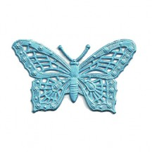 Light Blue Dresden Foil Butterflies ~ 6