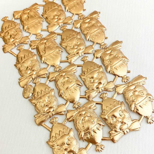 Antique Gold Dresden Foil Party Cats ~ 16