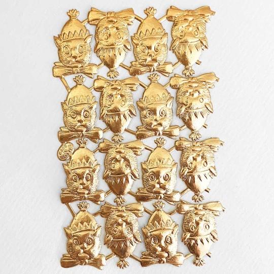 Antique Gold Dresden Foil Party Cats ~ 16