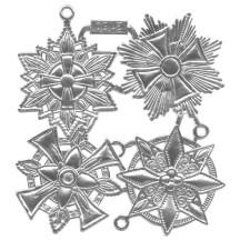 Large Silver Dresden Foil Medallions ~ 4 Assorted