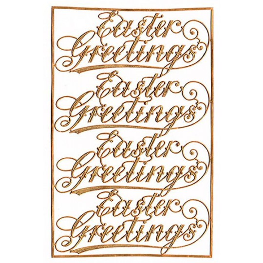 Easter Greetings Antique Gold Dresden Scripts ~ 4