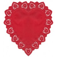 """5 Large Red Heart Doilies ~ Germany ~ 10 1/2"""""""