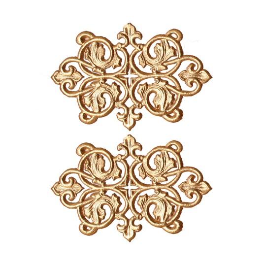 Antique Gold Dresden Foil Ornate Flourishes ~ 6