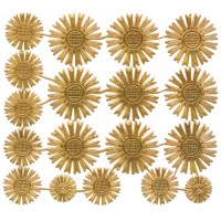 Assorted Antique Gold Dresden Foil Celestial Halos ~ 18 Assorted