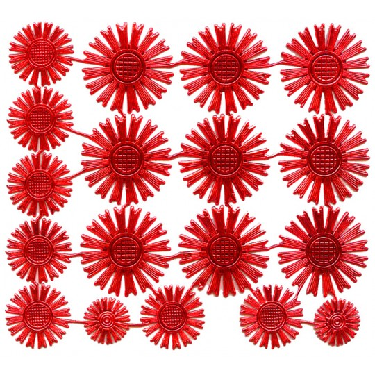 Assorted Red Dresden Foil Celestial Halos ~ 18 Assorted