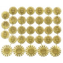Small Gold Dresden Foil Celestial Halos ~ 32 Assorted