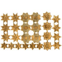 Antique Gold Dresden Foil Stars & Halos ~ 26 Assorted