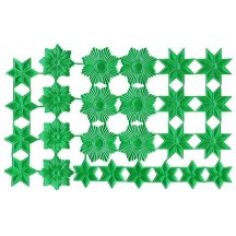 Green Dresden Foil Stars & Halos ~ 26 Assorted