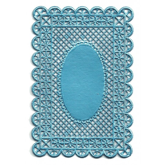 Light Blue Ornate Lattice Dresden Foil Doily ~ 1