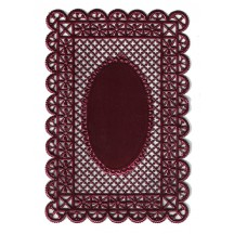 Burgundy Ornate Lattice Dresden Foil Doily ~ 1
