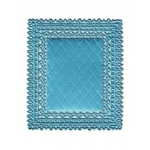 Light Blue Ornate Quilted Dresden Foil Doily ~ 1