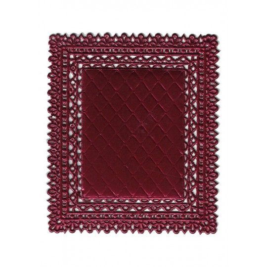 Burgundy Ornate Quilted Dresden Foil Doily ~ 1