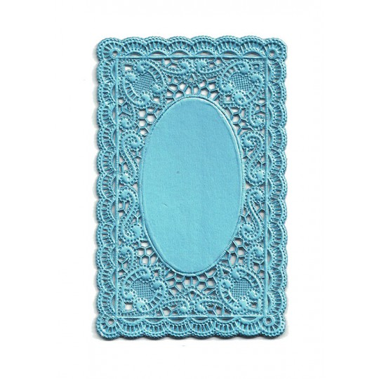 Light Blue Ornate Scrolled Dresden Foil Doily ~ 1